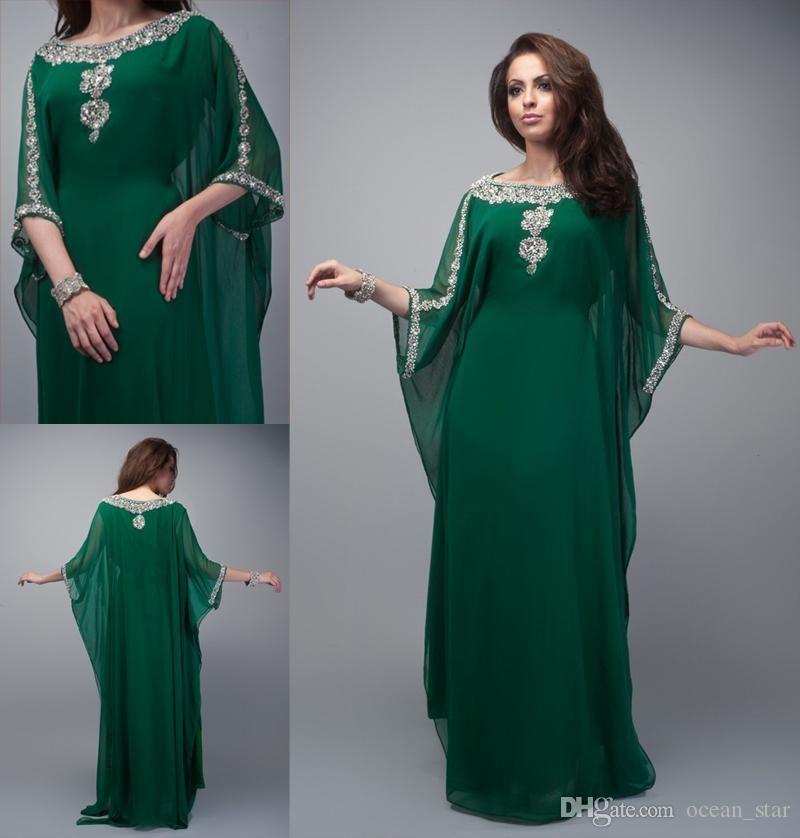 Charming Arabic Kaftan Evening Dresses Dark Green Chiffon With