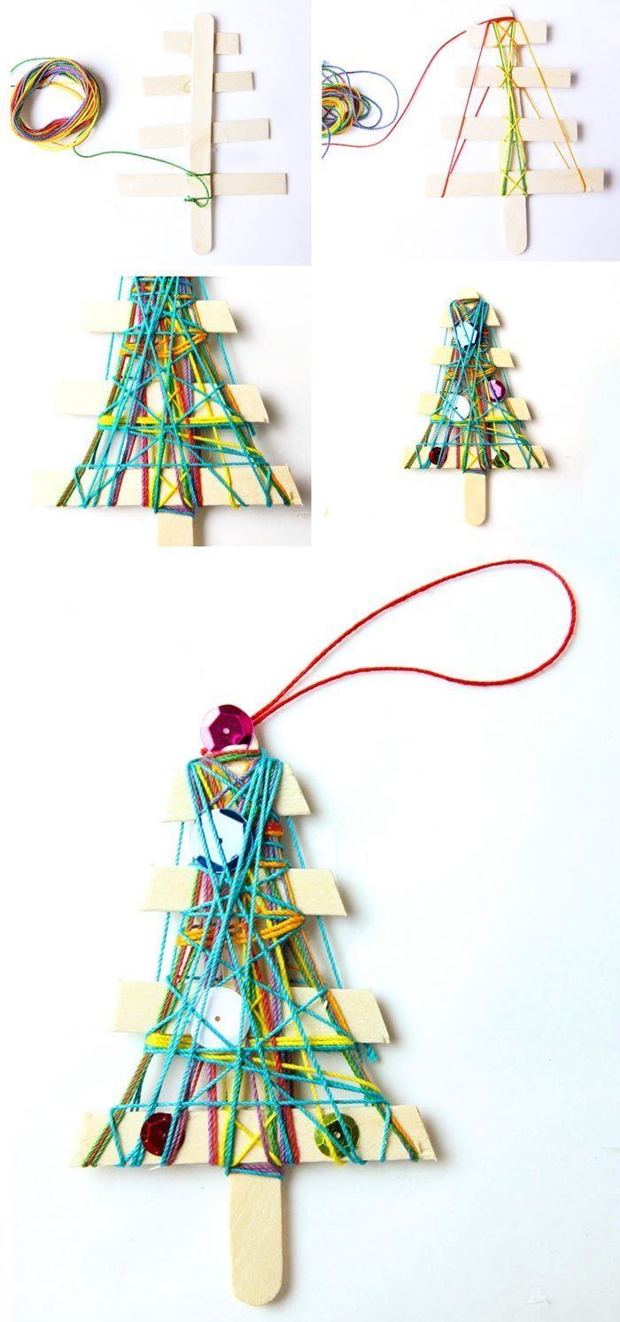Homemade Christmas Ornaments Yarn Trees Christmas