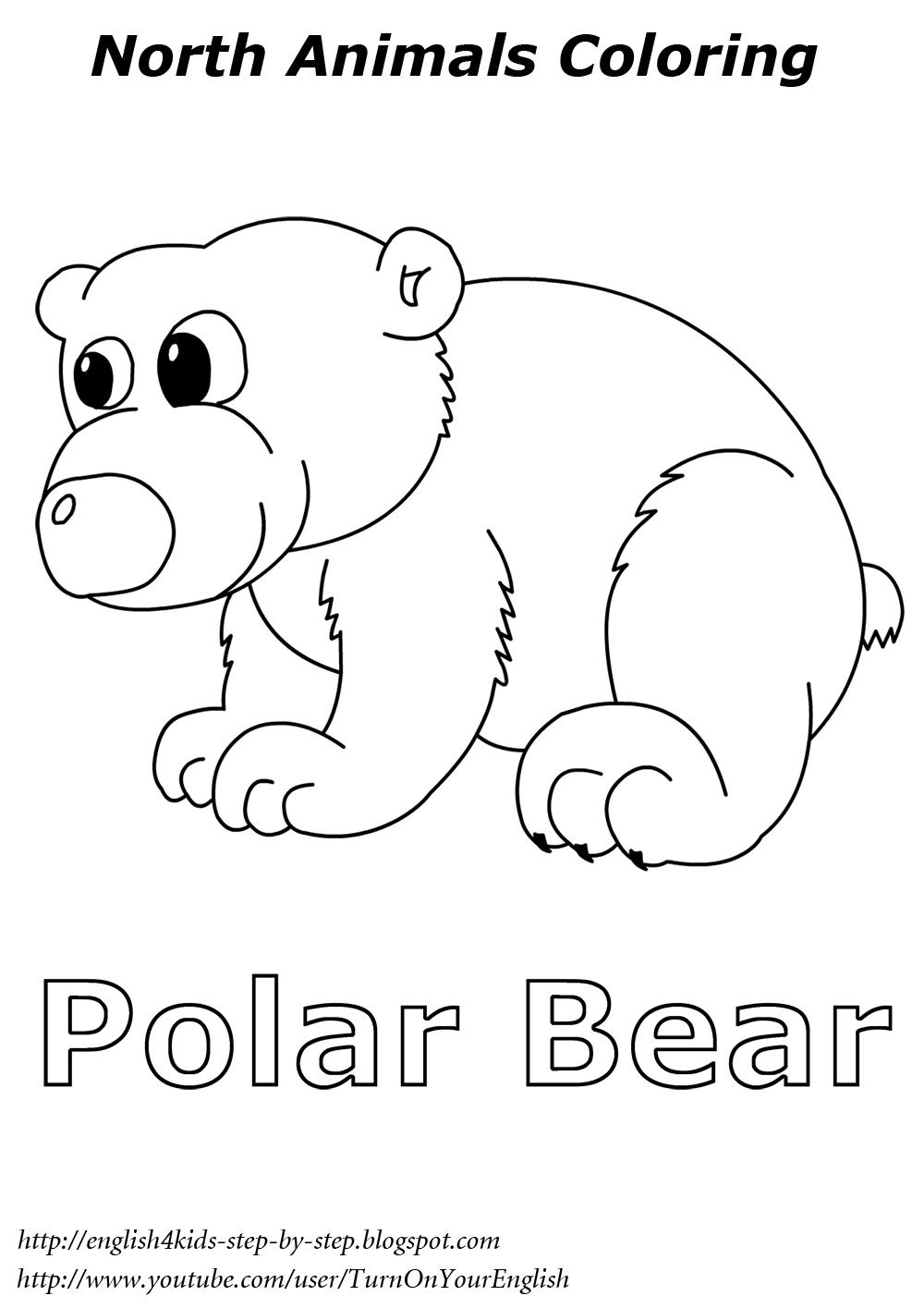 polar bear coloring english learning winter worksheets and flashcards arctic animals polar. Black Bedroom Furniture Sets. Home Design Ideas