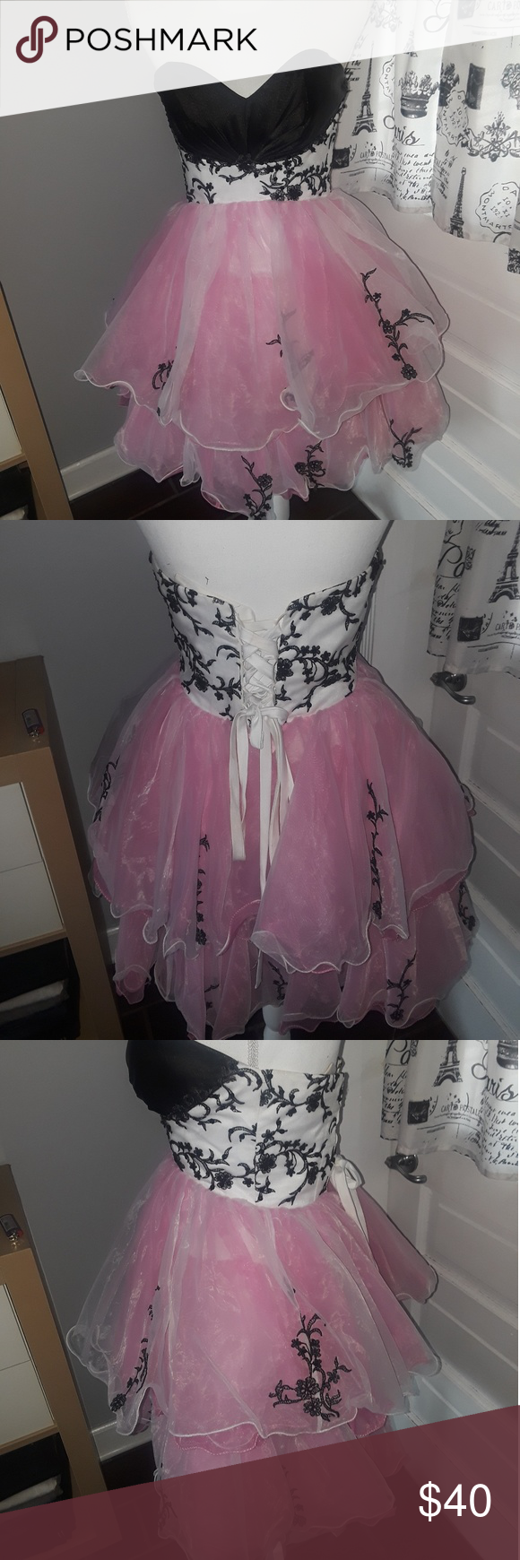 Pink u black prom dress size black prom dresses embroidered