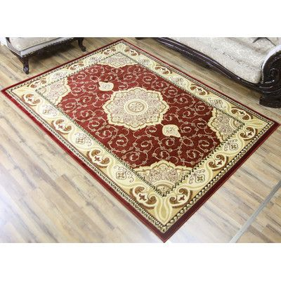 "Beyan Super Belkis Red/Ivory Area Rug Rug Size: 5'3"" x 7'5"""