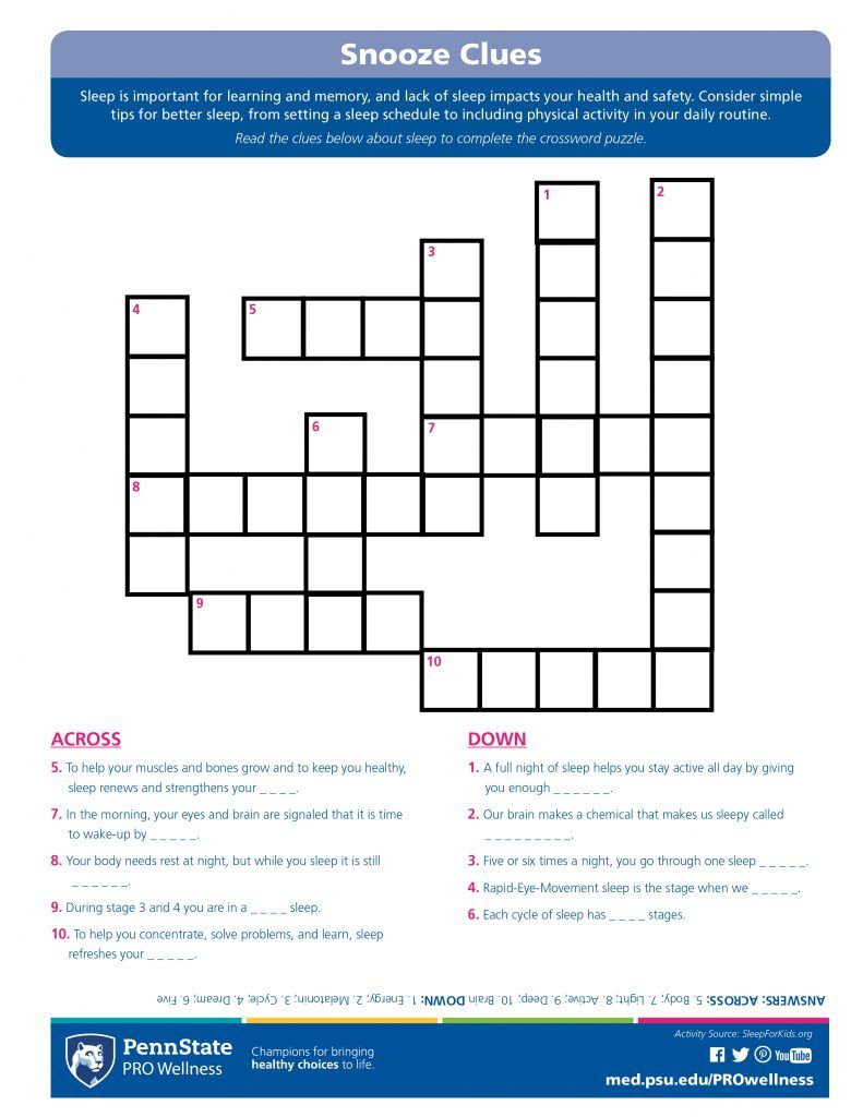 Snooze Clues Crossword Puzzle Penn State Pro Wellness Crossword Puzzle Clue Physical Activities