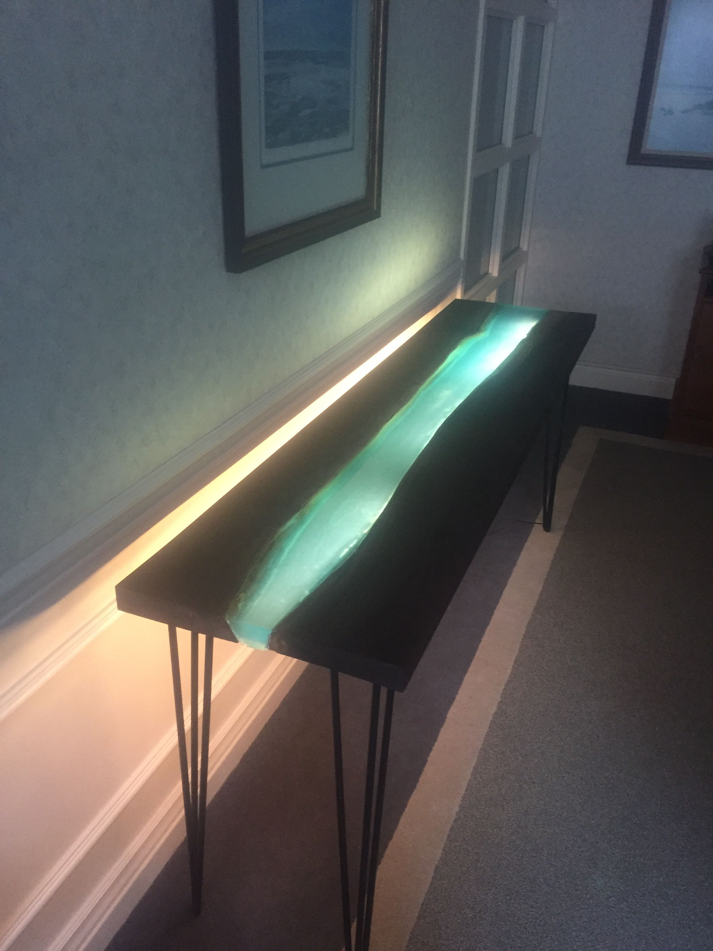 Fantastic Black Walnut Epoxy Resin River Table With Dimmable Led Strip Download Free Architecture Designs Viewormadebymaigaardcom