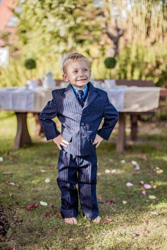 Bimaro Baby Jungen Anzug Theo Blau Nadelstreifen Hemd Hellblau