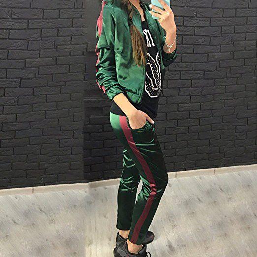 7ee002f5794a0b LAEMILIA Damen Overall Jogging Elegant Trainingsanzug Jacke+Hosen Einfarbig  Lose Jumpsuit Abendmode Party Club Wear
