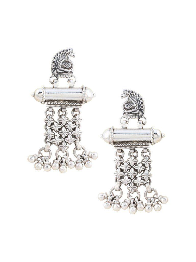Peacock Jhalar Sterling Silver Earrings