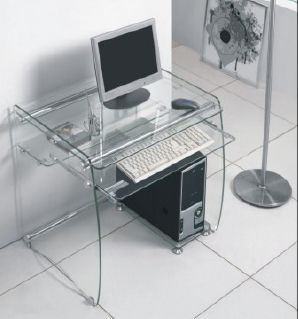Attractive Boxey Clear Glass Computer Desk