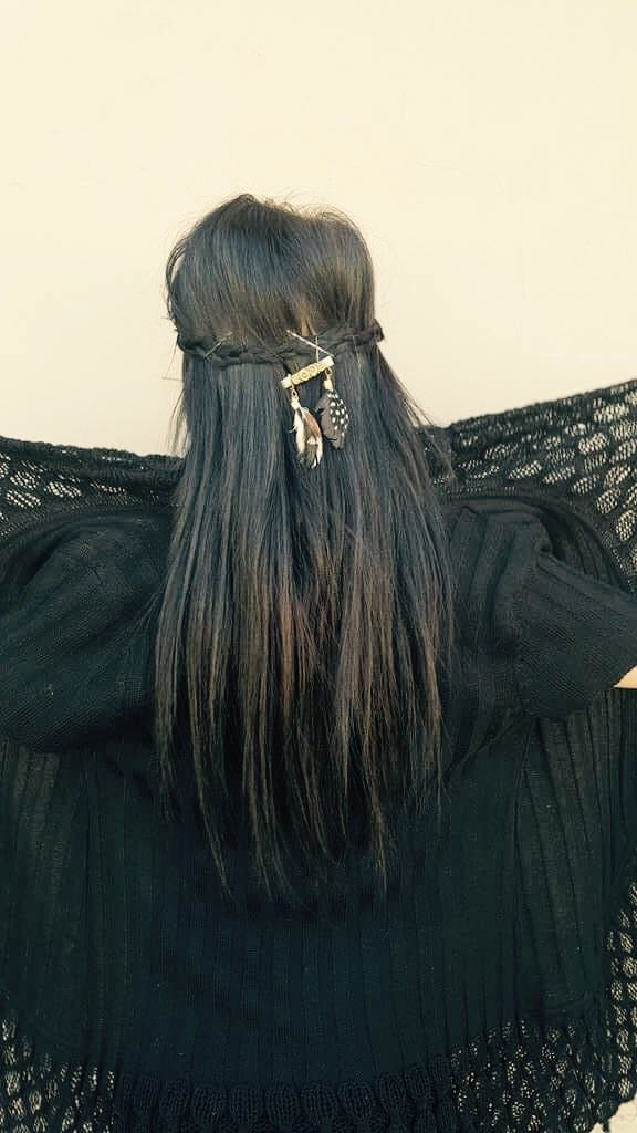 Boho, feathers, hair ,braid ,long hair, mystyle