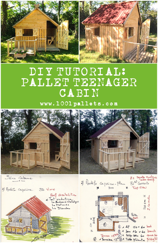 Diy Pdf Tutorial Pallet Teenager Cabin 1001 Pallets Free Download Pallet House Plans Pallet House Pallet Diy