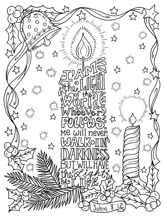 Instant Download Christmas Scripture Candle Coloring Page 8 5 X 11