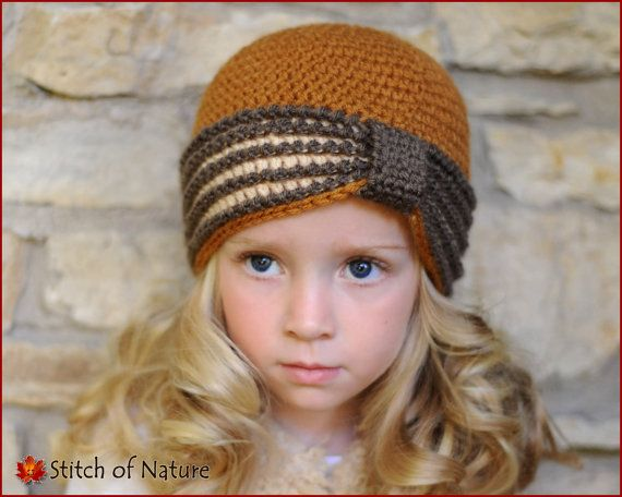 Crochet PATTERN - The Eleanor Turban Hat, 1920s Hat Pattern (Baby to ...