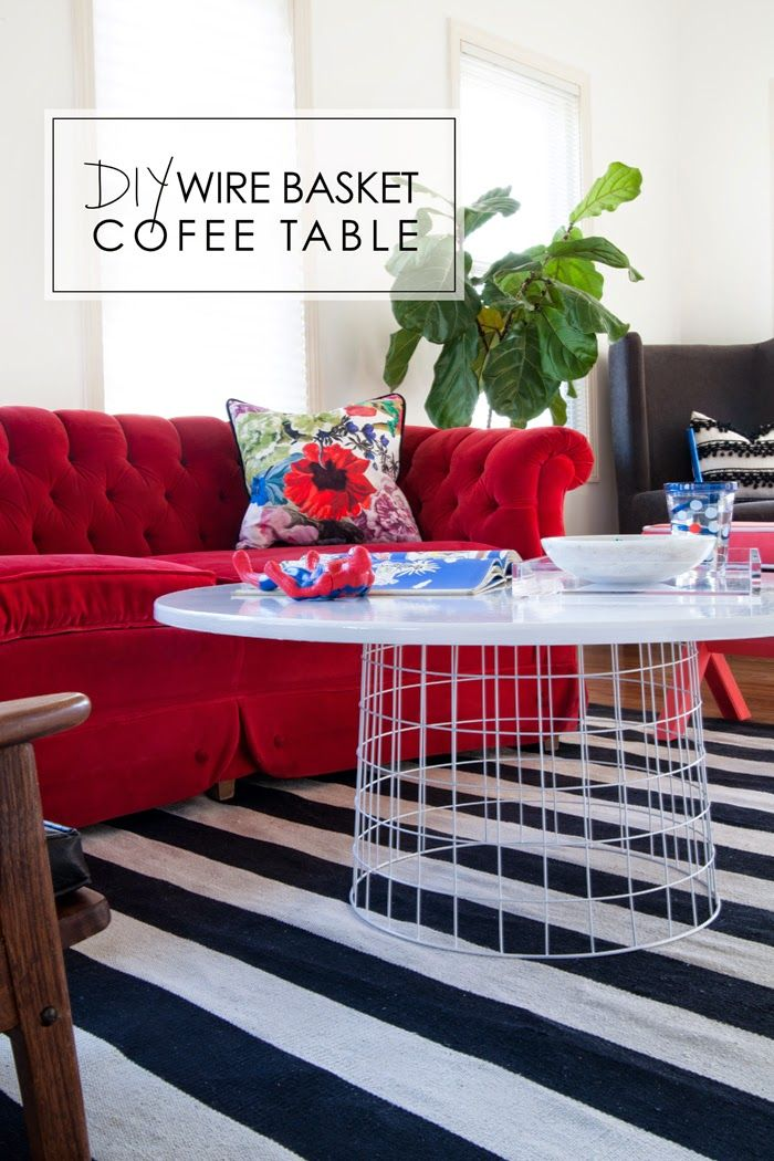 DIY Wire Basket Coffee Table