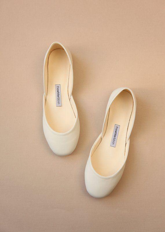 Bridal Ballet Shoes Ivory Ballet Flat Wedding Shoes Minimal Bridal Shoes Classic Model Standar Bridal Shoes Ballet Flats Ballet Shoes