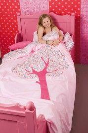 Roze beddengoed #kinderkamer | Kids duvet cover #pink #tree #kidsroom