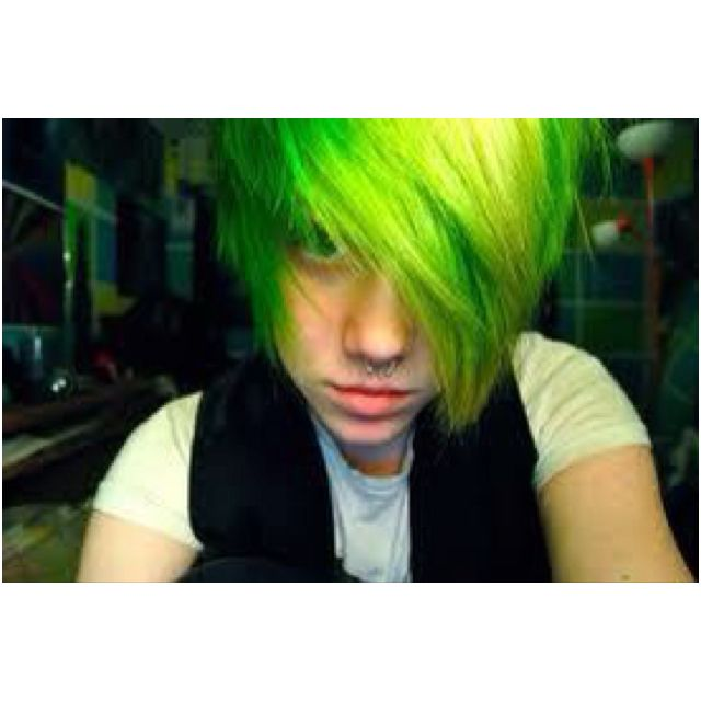 Lime Green Hair Emo Hairstyles For Guys Emo Hair Green Hair