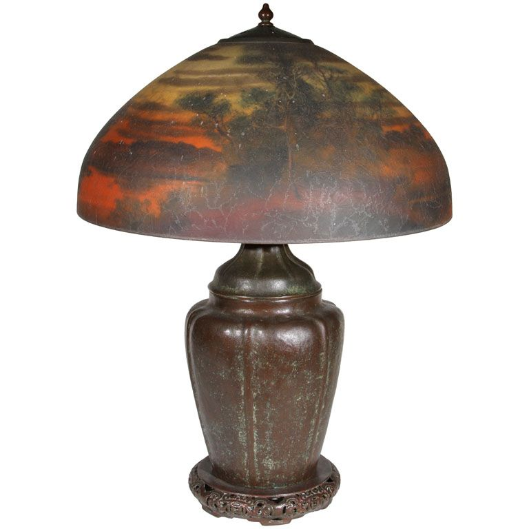 Handel Lamp w Scenic Reverse Painted Shade | Art Glass ...