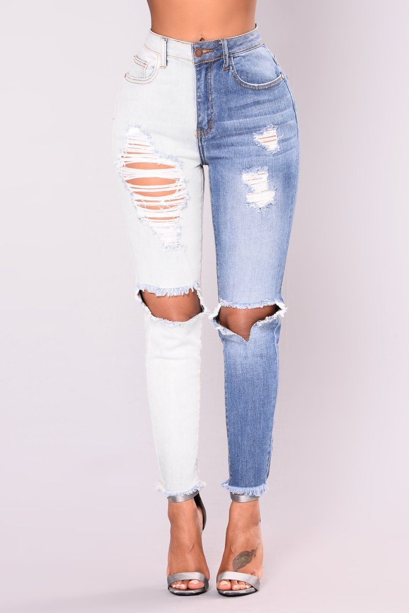 2f6e08f12867 Split Personality Two Tone Jeans - Light/Medium | Not Any Type Of ...