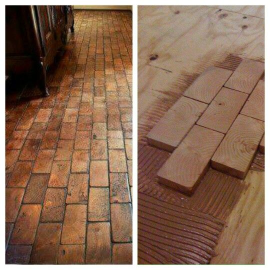 Cool Flooring Idea 2x4 Wood Ends Diy Wood Floors Diy Flooring Brick Flooring