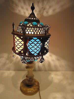 orientalische 70er jahre tischleuchte messing marmor fuss lampe leuchte lampes orientales. Black Bedroom Furniture Sets. Home Design Ideas
