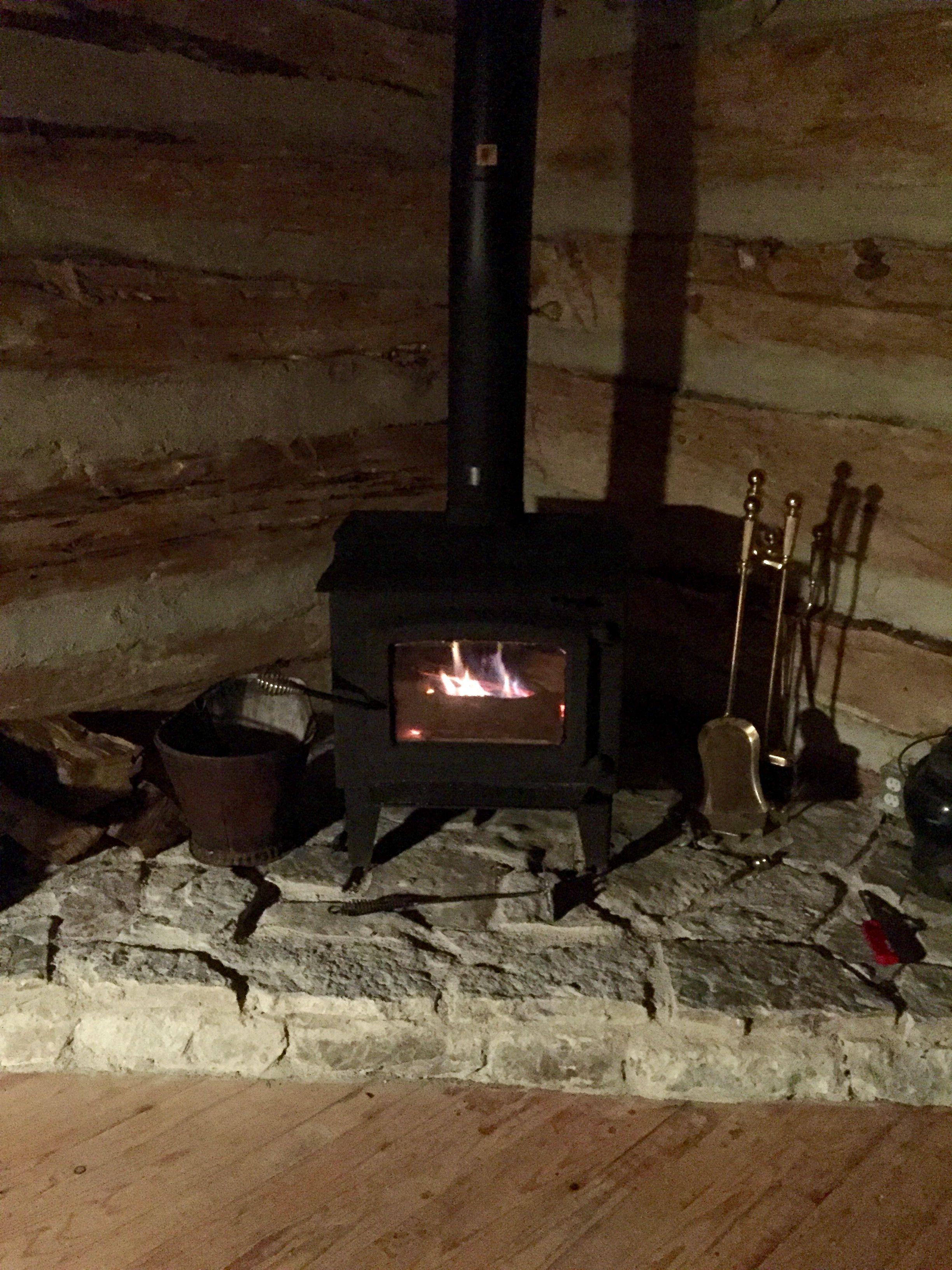 Corner Wood Stove Flagstone Ledge Log Cabin Wood Stove Hearth