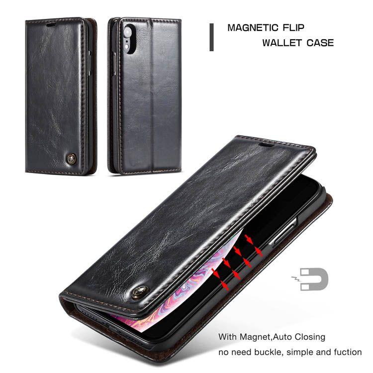 Caseme iphone xr wallet kickstand flip case black