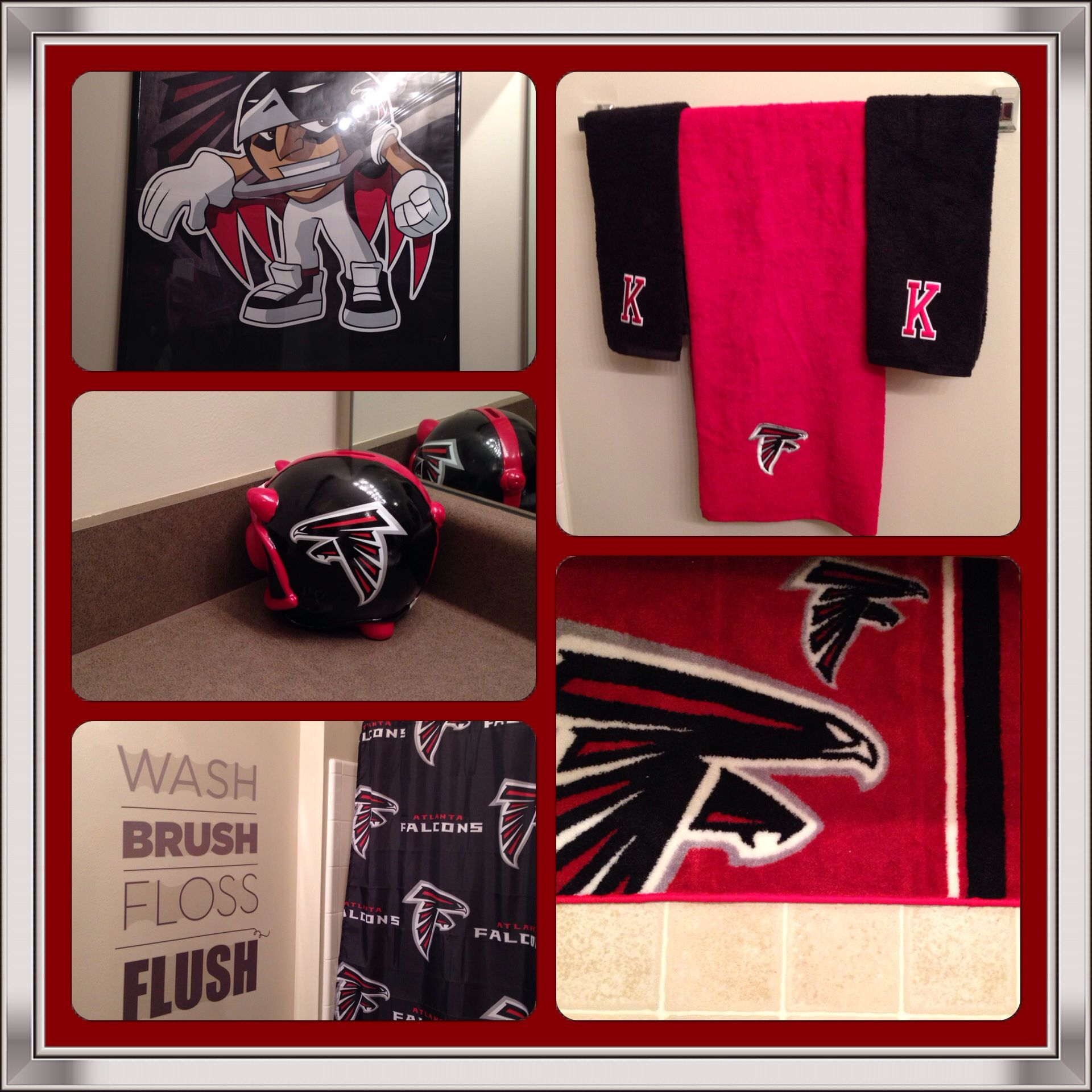 My Kids Have An Atlanta Falcons Themed Bathroom Decor By Me Atlanta Falcons Bedroom Atlanta Falcons Room Atlanta Falcons
