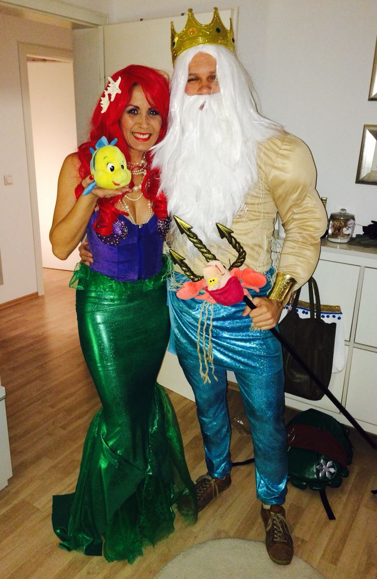 Diy ariel the little mermaid costume king triton costum - Maquillage halloween couple ...