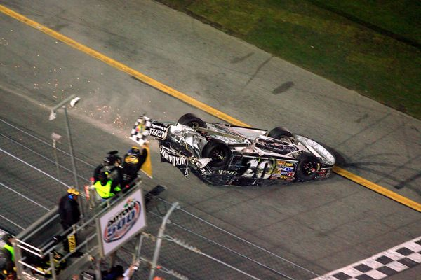 Clint Bowyer On His Roof Crossing The Daytona 500 Finish Line In