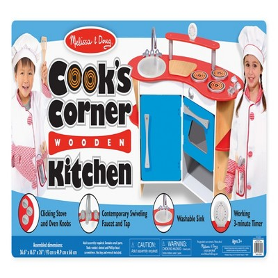 Melissa & Doug Cook\'s Corner Wooden Kitchen Pretend Play Set ...
