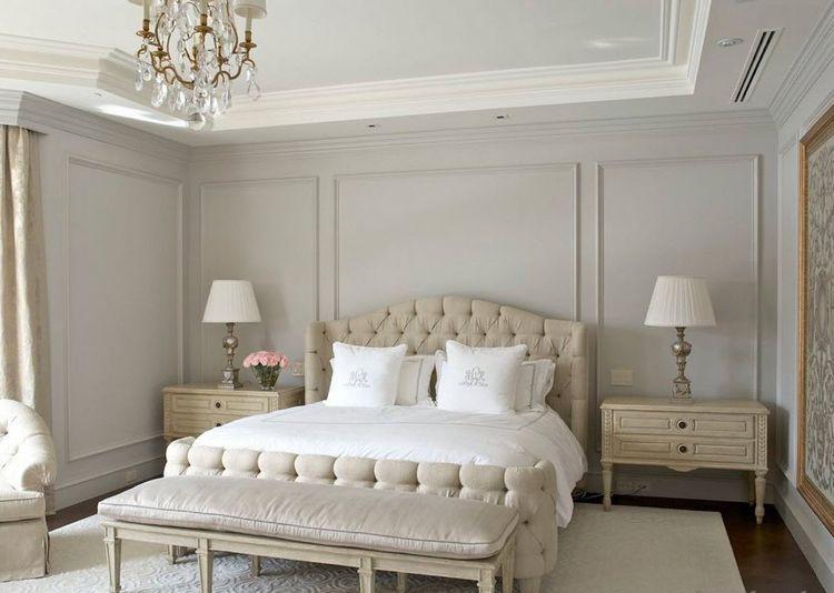stuckleisten-streichen-taupe-wandfarbe-schlafzimmer Haus