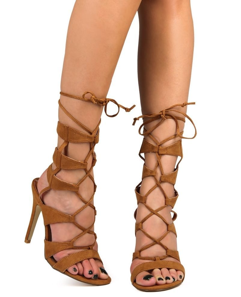 High heel gladiator lace up roman sandals open toe womens shoes