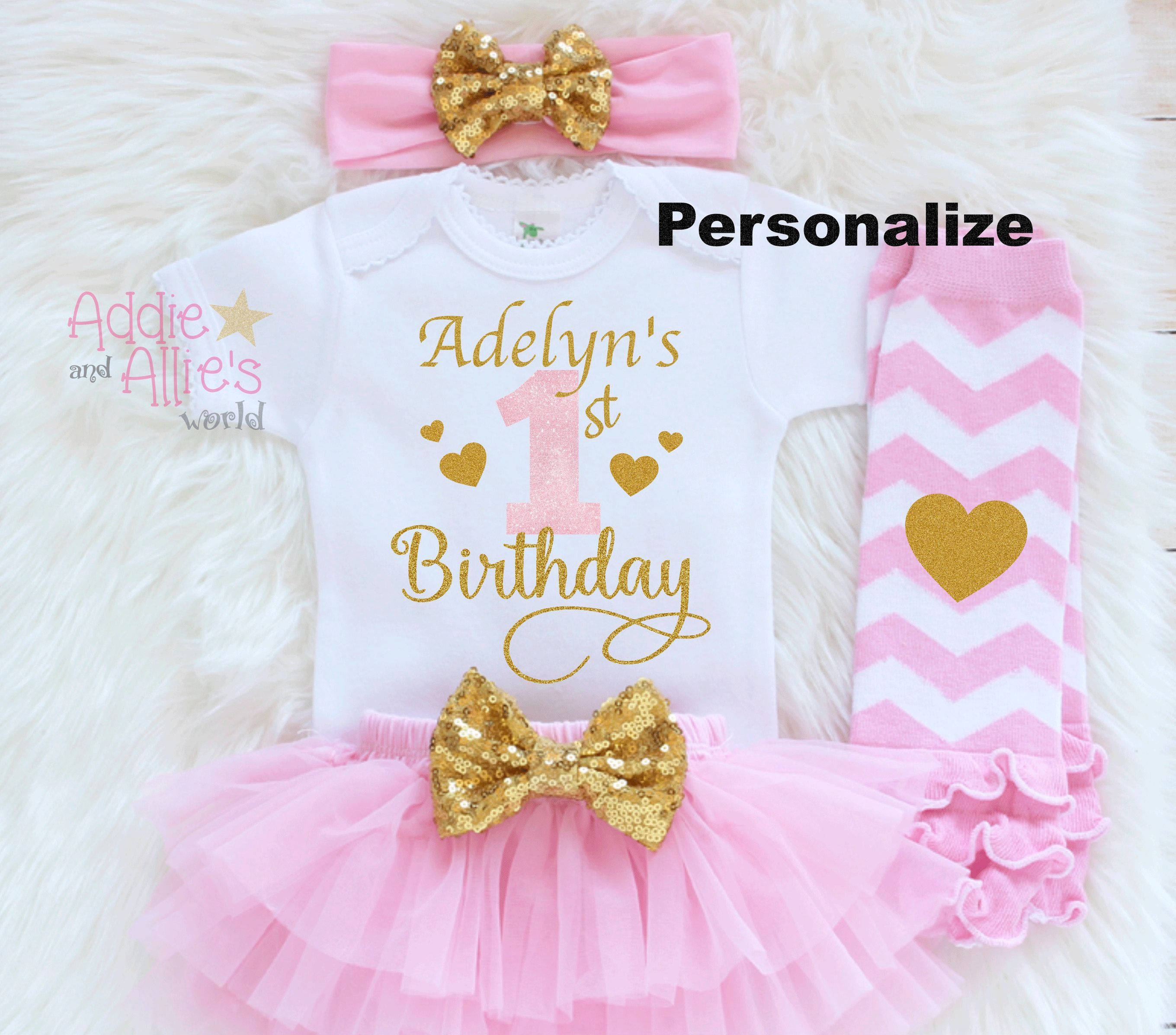 Happy 1st Birthday Girl Embroidered Baby Cotton Dress Gift Personalised First