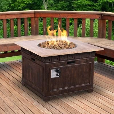 Awesome Square Envirostone And Travertine Propane Fire Pit