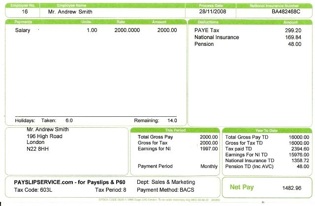 Sage Plus Payslips With Employee Address Recipes to Cook - payment slip format free download