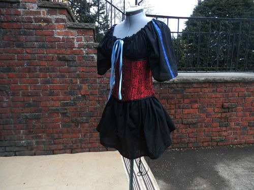 Ladies Black short sleeve chemise w/ trim $25.00