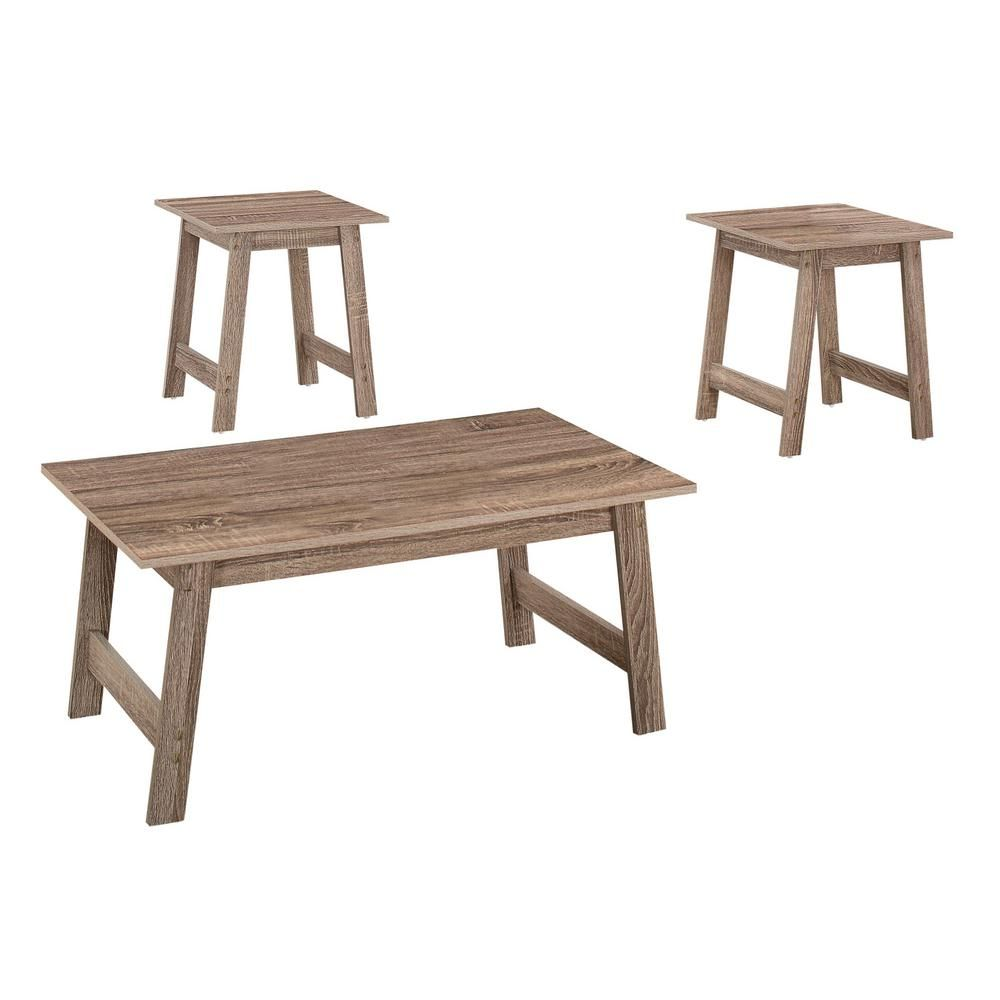 Bring some warmth and style to your living room, den, or family room with this modern 3-piece coffee table set in a rich dark taupe wood-look finish. The table tops are spacious enough to place books, a lamp, or decorative accessories, and the angular sturdy legs with a cross bar keep the look clean yet stylish. With a simple minimalist design, this rectangular coffee table with two matching square end tables is perfect for small spaces easily fitting into any decor style.
