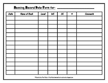 Friday Freebie – Running Record Form as seen on Third Grade Troop ...
