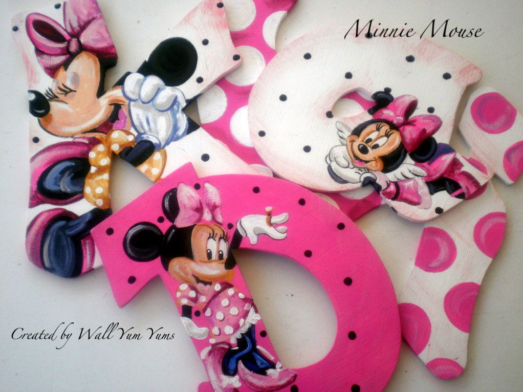 8in Custom Hand Painted Minnie Mickey Mouse Wall Letter Disney Name Match Any Theme Hanging Wood 9 Minnie Mouse Nursery Girls Wall Decor Mickey Mouse Bedroom
