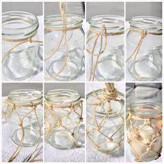DIY: Makramee Sommerdeko/ Weckglas mit Fischernetz als Windlicht oder Vase - Chalet8