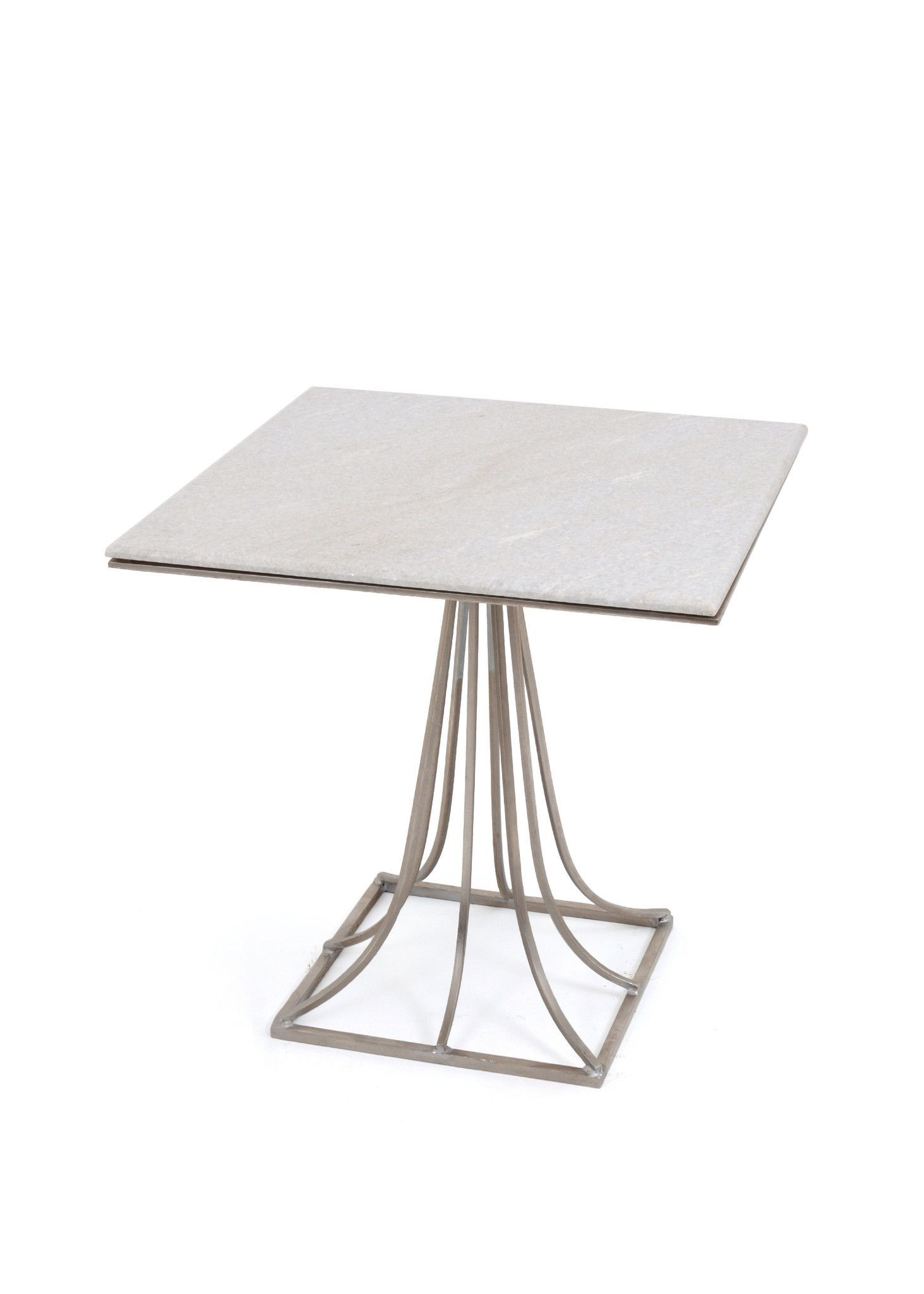 Marietta Side Table with Marble Top on Brushed Nickel Base