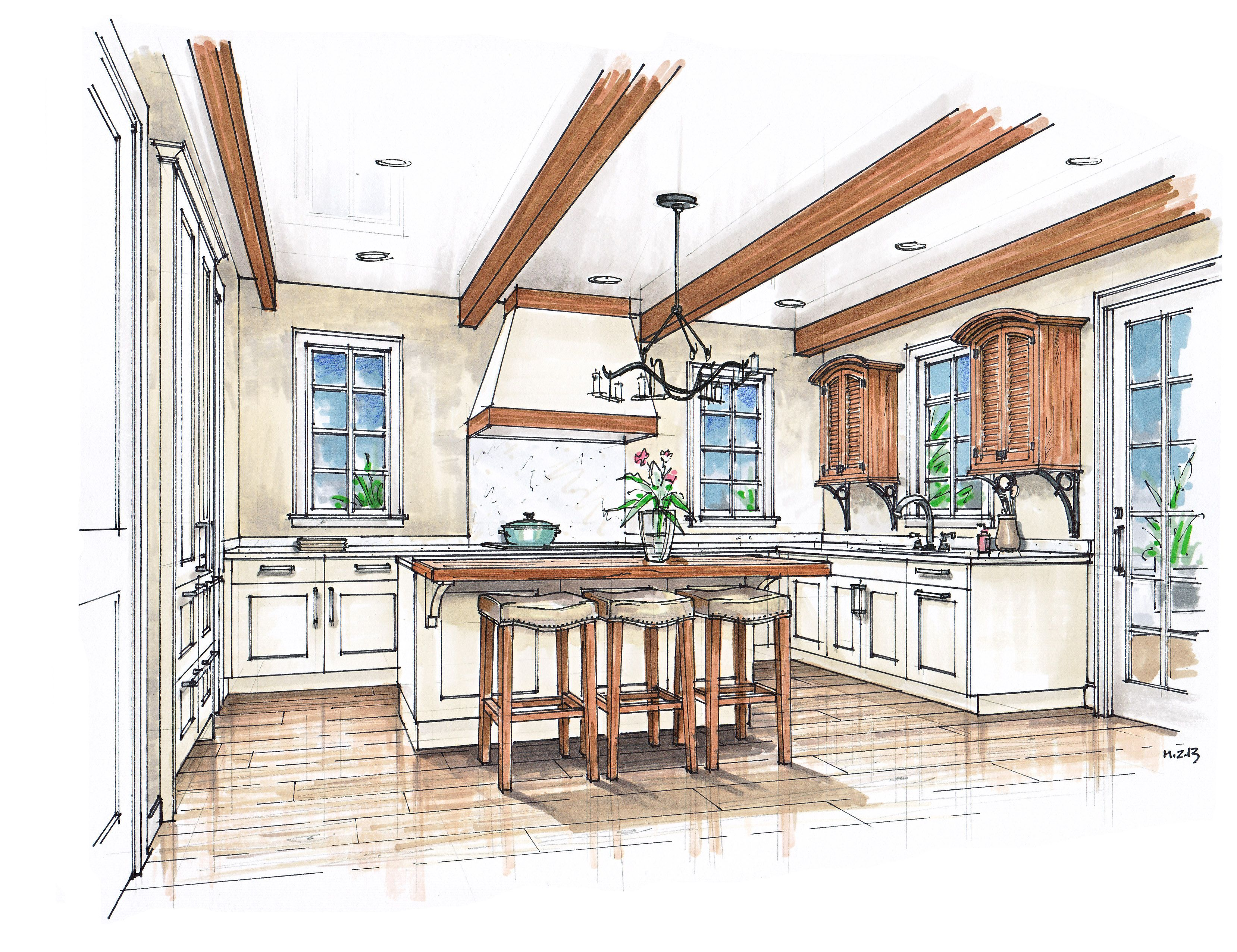 Interior Design Sketches Kitchen carribean projects | cabinets, search and design