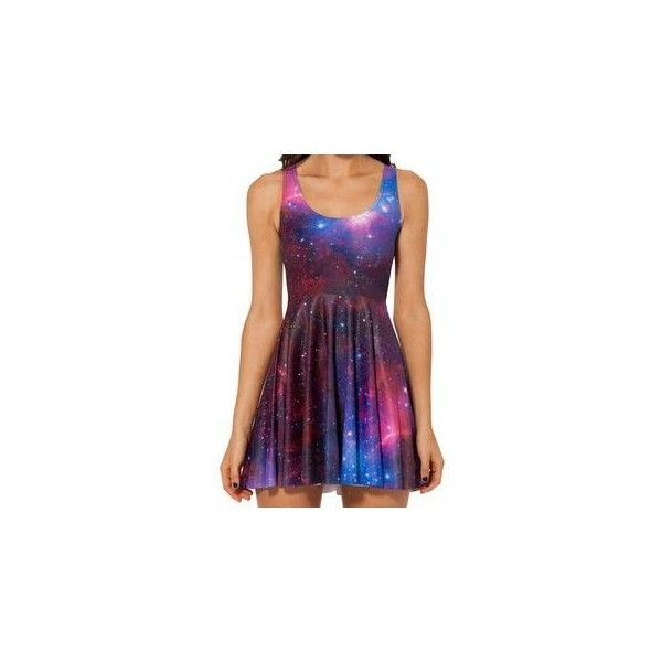 Galaxy Print Sleeveless A-Line Dress ($18) ❤ liked on Polyvore featuring dresses, women, purple dresses, galaxy print dress, nebula dress, cosmic dress and sleeveless a line dress