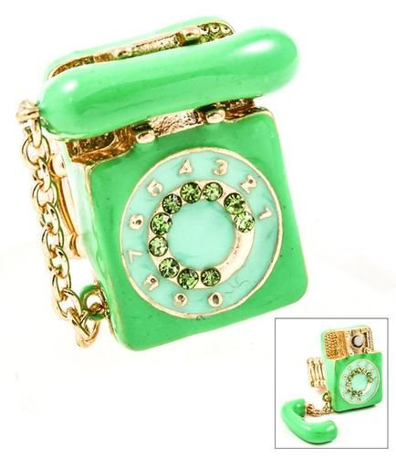 """""""ring, ring"""" Hello? ! This is an absolutely adorable green phone ring!!!"""