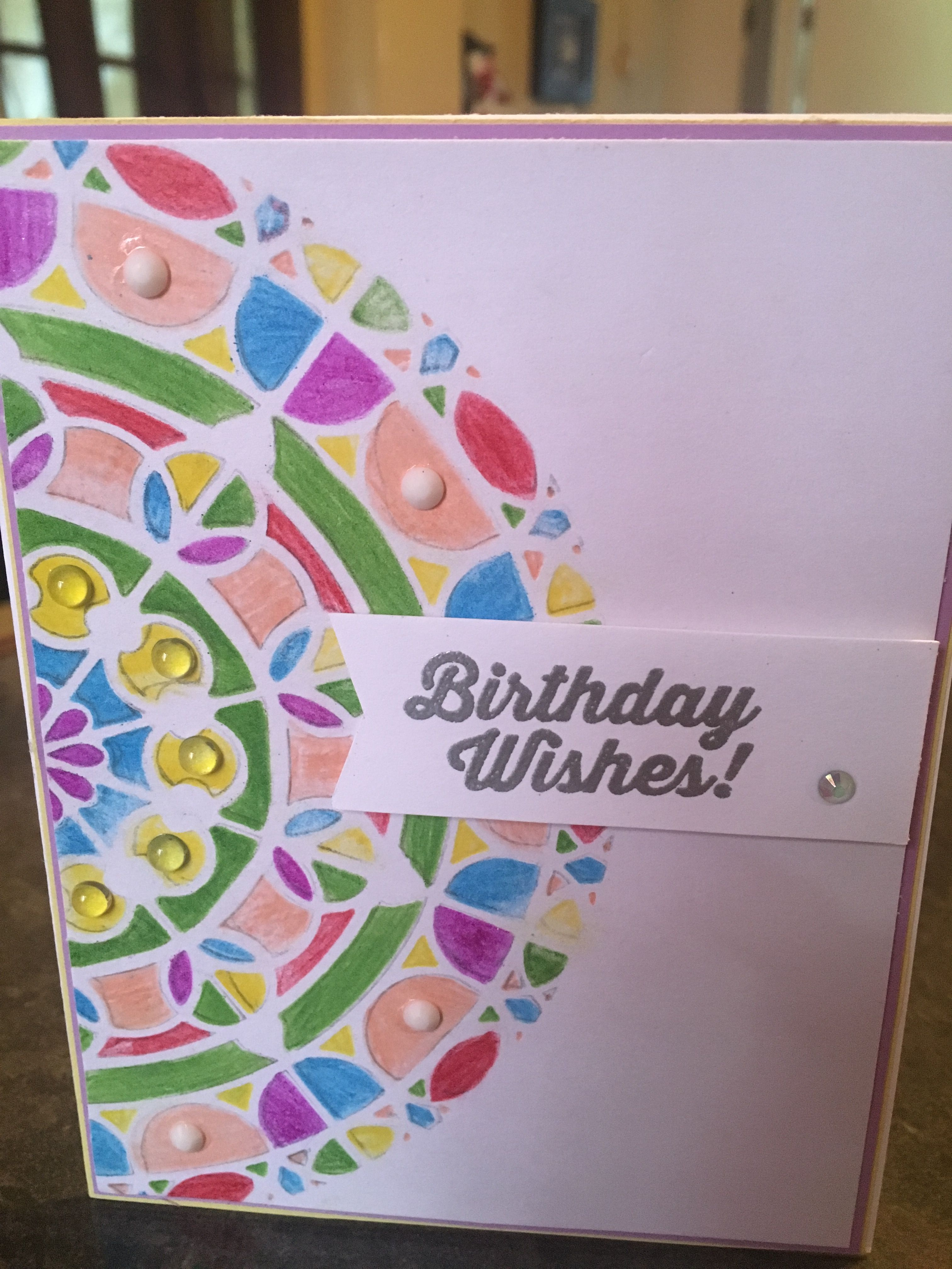 Colored pencils stenciled background birthday card by ...