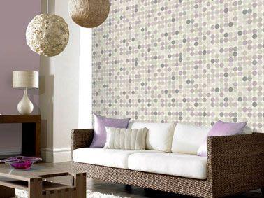 Papier peint salon vintage couleur lin et violet vintage - Deco papier peint salon ...