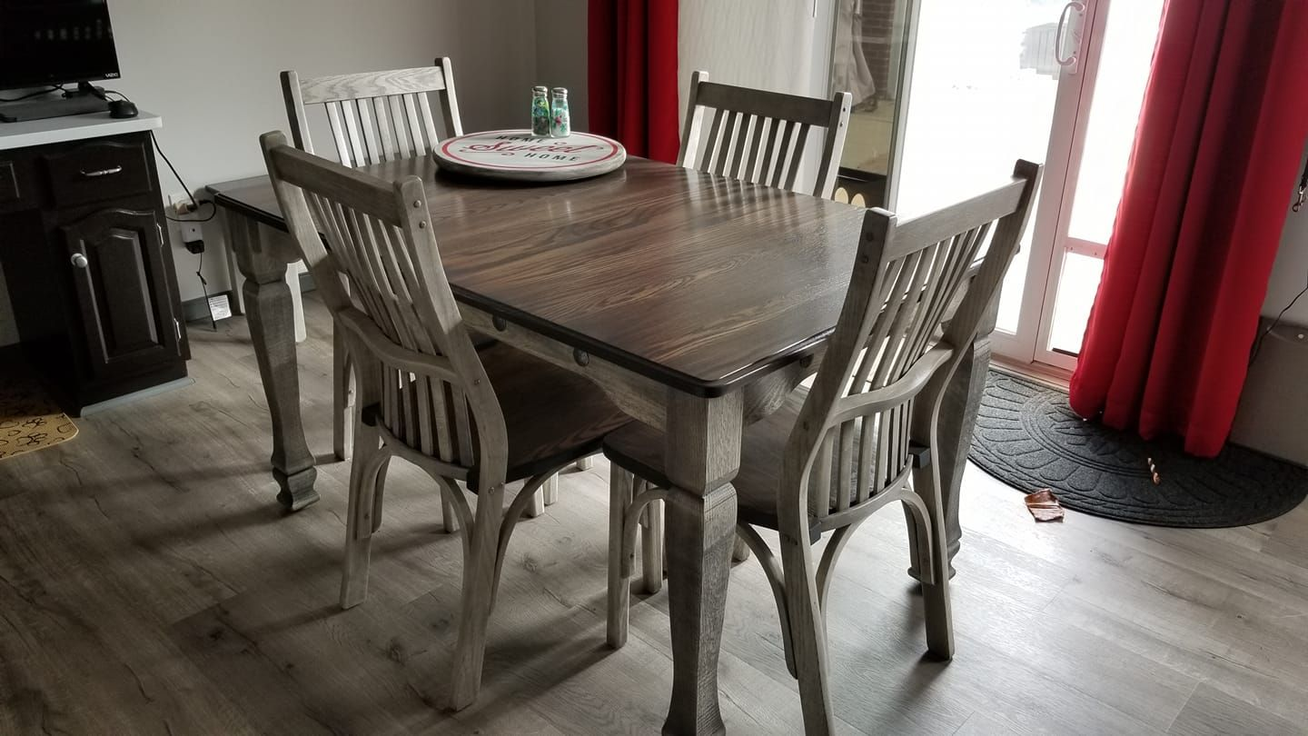 36 W X 54 L Grey Greige Dining Table Set Solid Wood And Made
