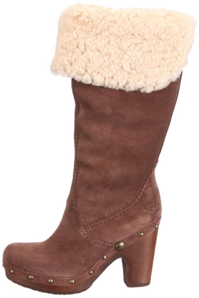 c5672079d9 Women s Shoes UGG Australia Lillian Tall Clog Boots Suede Sheepskin  Chocolate