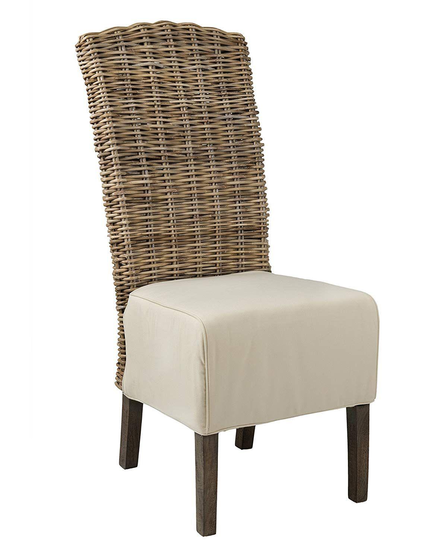 East At Main Brainerd Grey Rattan Dining Chair, (19x24x43