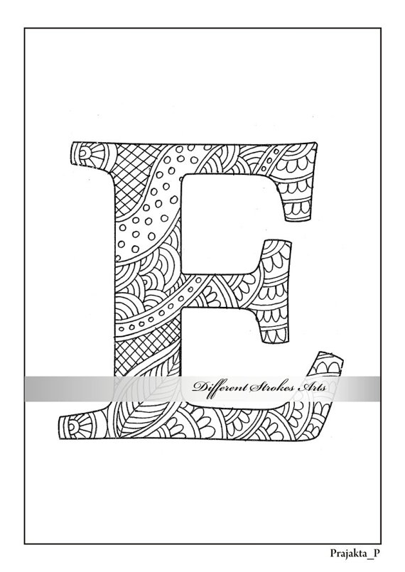 Letter Coloring Page Alphabet E To Color For Adults Printable Letter D Henna Doodle Instant Download Coloring Letters Alphabet Illustration Coloring Pages