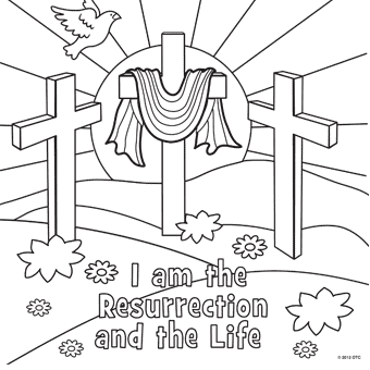 He Is Risen Cross Coloring Pages Resurrection Page
